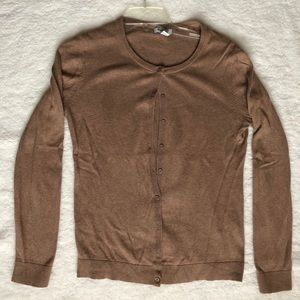 Old Navy Button Down Brown Cardigan Crew Neck
